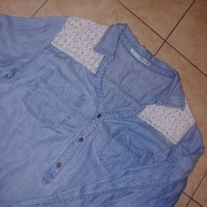 Maurices Tunic Top Blue Chambray Lace Popover